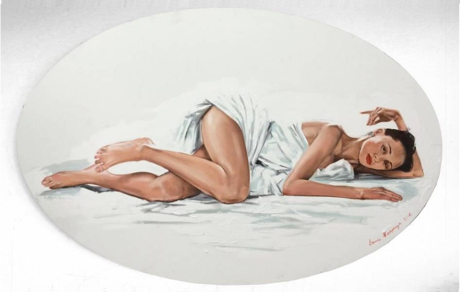 художник Красная Анна - картина Белые простыни - фигуративное искусство - жанровая композиция,ню