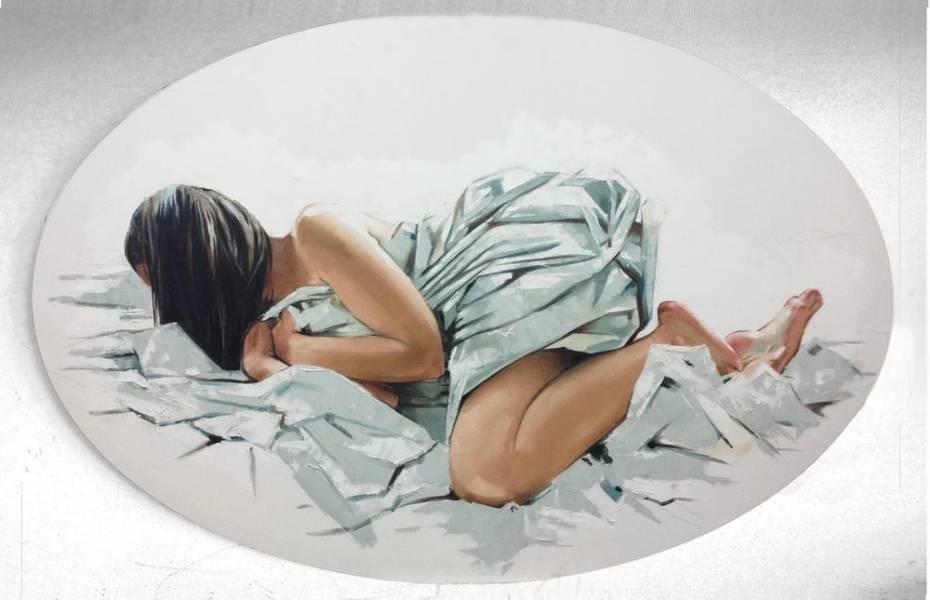 художник Красная Анна - картина Обнаженная в кровати - фигуративное искусство - жанровая композиция,ню